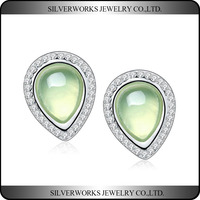 2016 New Design 925 Silver Stud Earrings With Light Green Gemstone and Paved Zicrons
