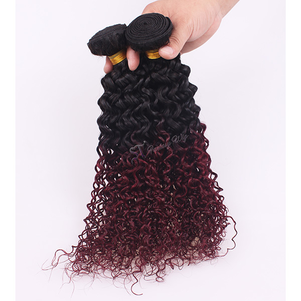 Fantasy wig hair extension wholesale 1B/ 99j ombre egyptian kinky curly human hair weaving