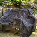 CX-D-80E Cheap Sale Genuine Knitted Mink Fur Blanket For Bedding