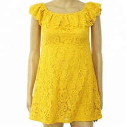 Summer sexy off shoulder yellow Slim Short Sleeve Lace Mini Casual Dress women