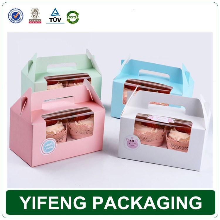 Cheap Custom Cupcake Handle Box Cake Boxes Wholesale