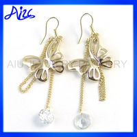 Big Gold Jewelry Dangle Butterfly Earrings