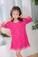 2016 wholesale spring children clothes hot pink lace girls dresses new model children lace dress