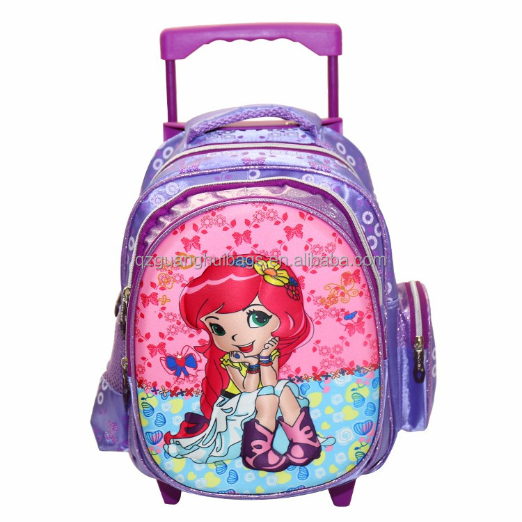 2166 Pink Cute Lovely Spotty Dogs Cartoon Wheeled children Polyester kids trolley school bag with wheels