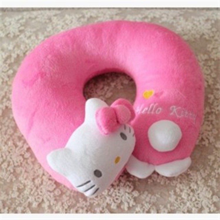 Hot sale cute doll adorable cat u-shaped neck pillow for car travel cheap stuffed animals