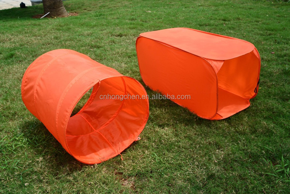 Square design easy folding kids outdoor pet tunnel