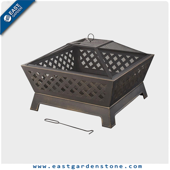 Black cast iron garden treasures outdoor fire pit for heating