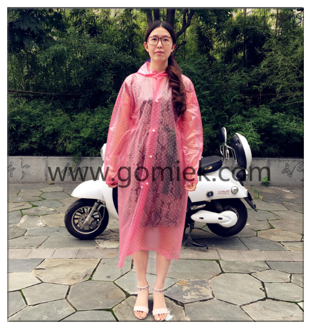 Latest hot sale fashion lady raincoat with dots polka dots raincoat for bicycle