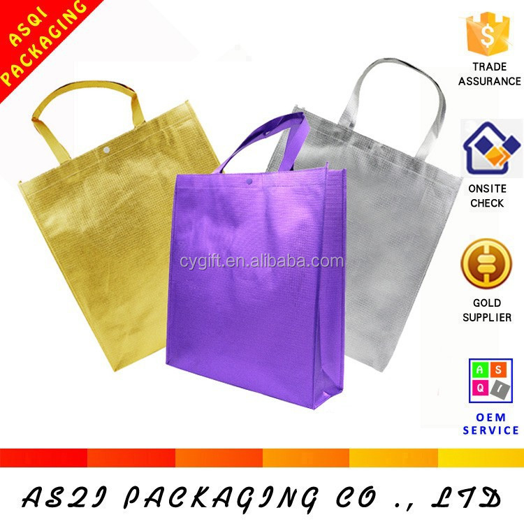 latest laminated reusable luxury shopping brilliant purple foldable tote bag with snap closure