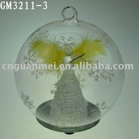 Wholesale LED fiber optic angel figurines in christmas ball with snowflake