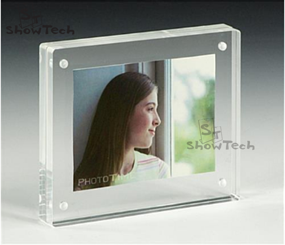 double sided block picture frame 4x6 5x7 clear acrylic photo frame with magnet - Double Sided Glass Frame