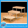 3 -Tire metal tube wood nesting table