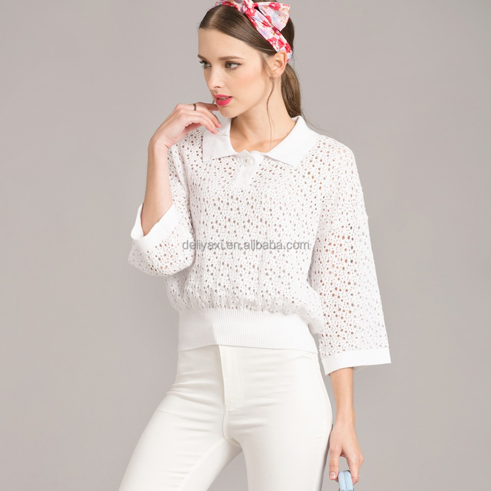 white knitting pullover T-shirts three quarter sleeves hollow out spring and antumn cotton silk big brand tops sweater clothings
