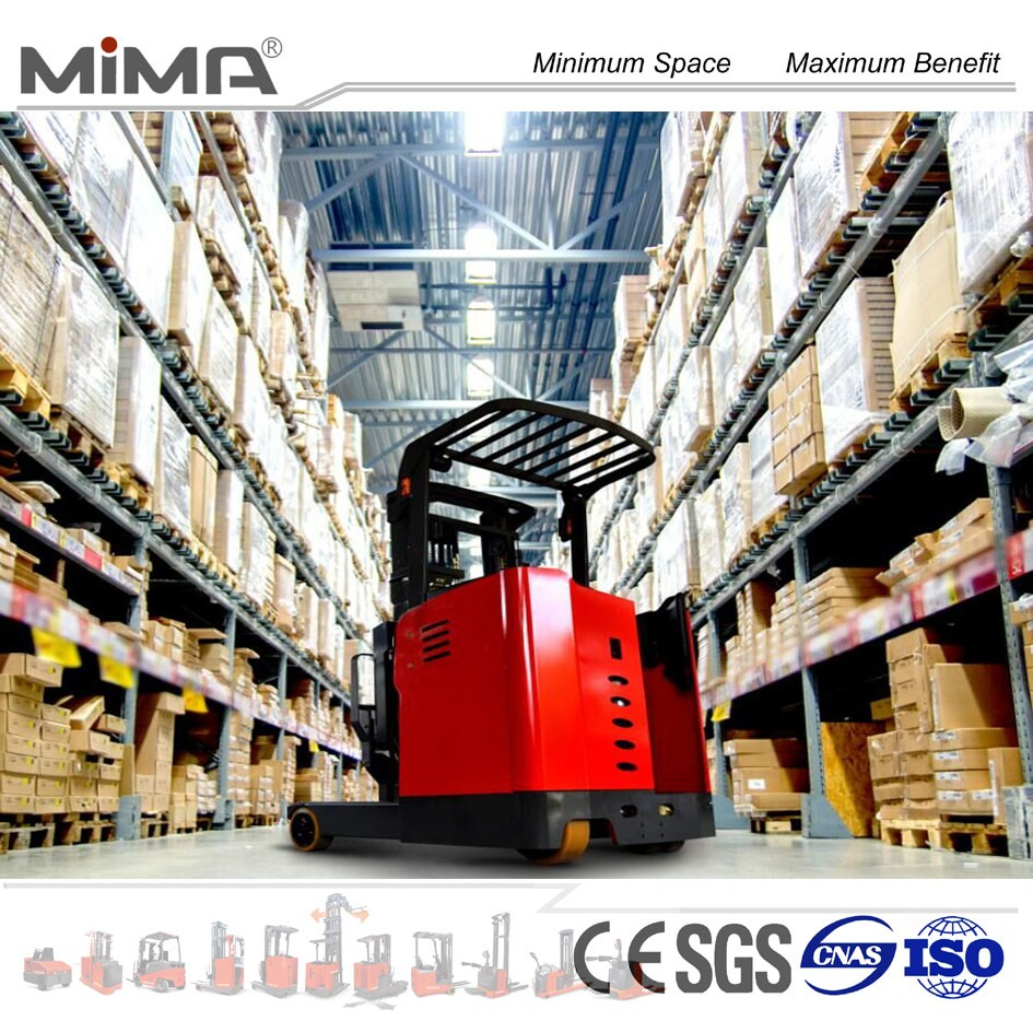 suspension damping system for battery reach forklift trucks