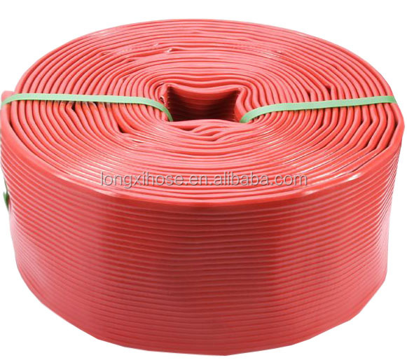 red large diameter rubber fire hose