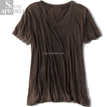 Drapey V-neck T shirt For Women Loose Brown T-shirts 94% Viscose 6% Elastane Ladies Fshion Clothing Women Wear