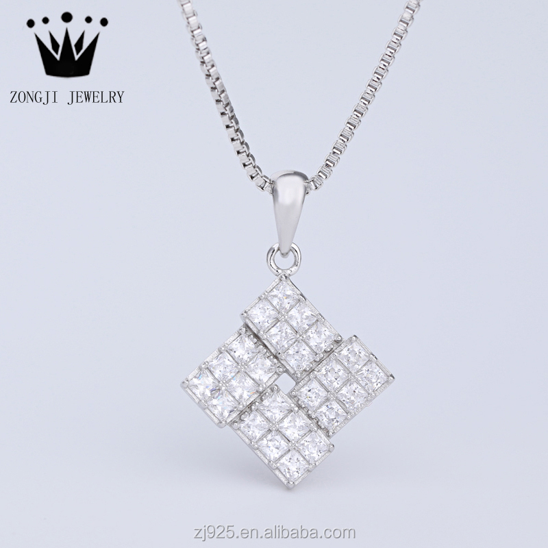 Contemporary 925 Silver Jewellery Square Style White Gold Plated Pendants For Necklaces