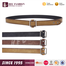 HEC Fashion Wholesale Business And Casual Metal Square Leather Buckle Pu Leather Belt