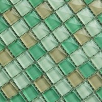 15x15 construction material greens crystal glass mosaic tile for bathroom