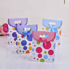 Polka Dot Pattern Printing Candy Gift Paper Packing Bag with Velcro Closure For Children
