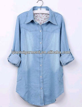 High quality light blue washed casual Retro/denim long sleeve shirt for women/ladies