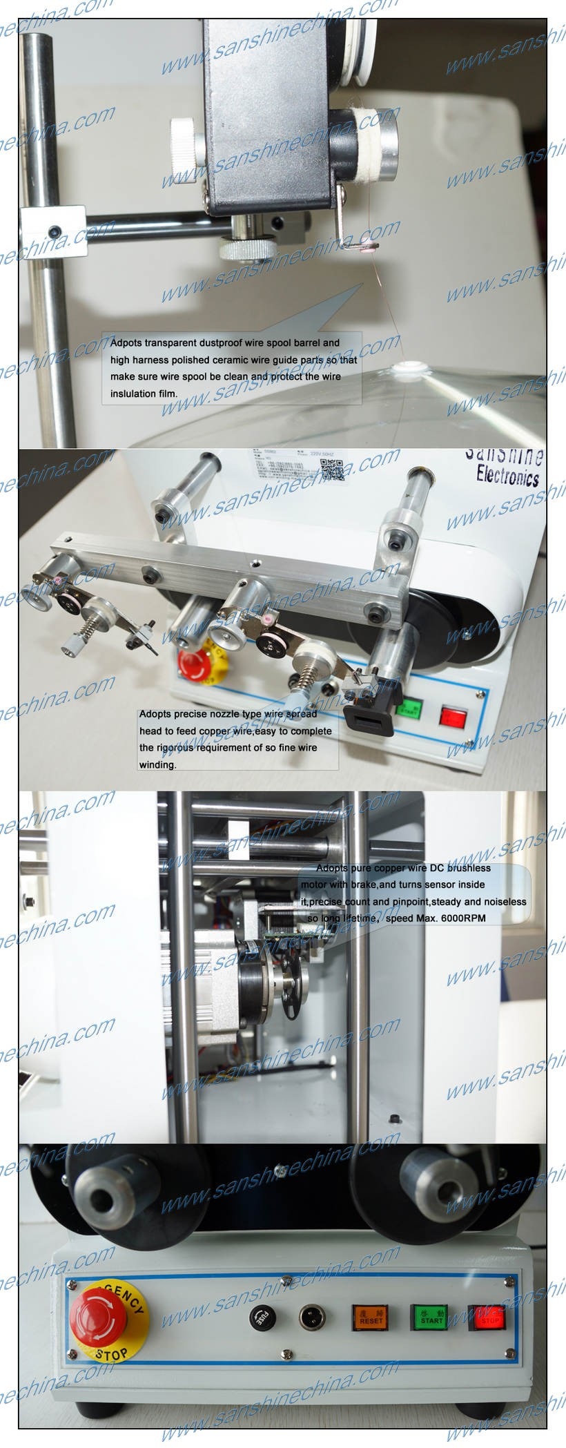 Obverse four spindles automatic coil winding machine