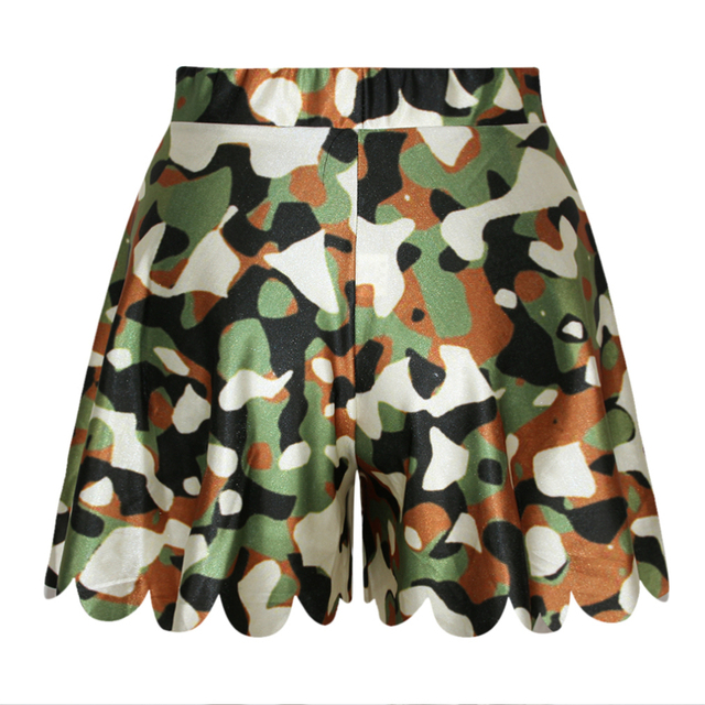 Plus Size Women Running Shorts Camouflage Sublimation Pants N14-32