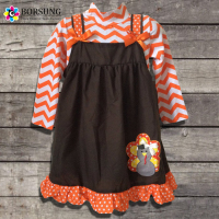 Baby Girl Outfit 2 Piece Chevron Turkey Dress Set Toddler Girl Halloween Costume Holiday Girls Baby Clothes