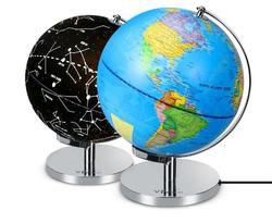 Unique mini plastic PVC rotating teaching constellation education illuminated world globe with light