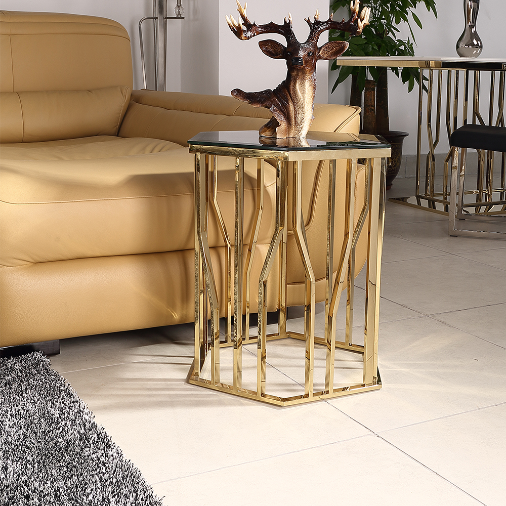 gold modern perspex side table ET5742
