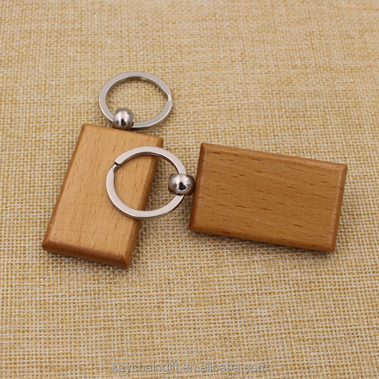 Promotion gifts square wooden keychain blank keyring wholesale