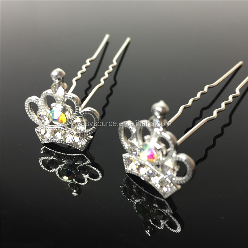 Hot selling princess crystal rhinestone wedding jewelry accessory bridal decorative crown hair comb fork
