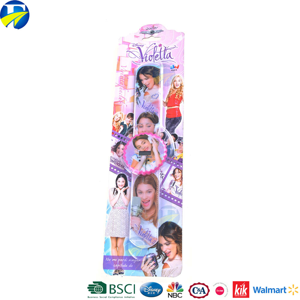 FJ brand customized cartoon logo color free sample silicone wrist band slap bracelet for kids