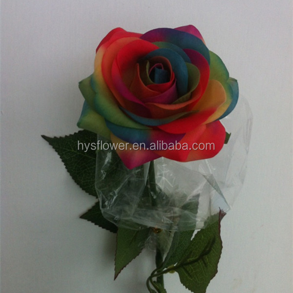 Artificial latex real touch rainbow roses,real preserved roses in glass