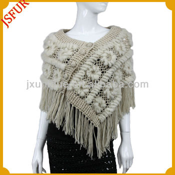 2014 New fashion winter women's knited rabbit fur shawl