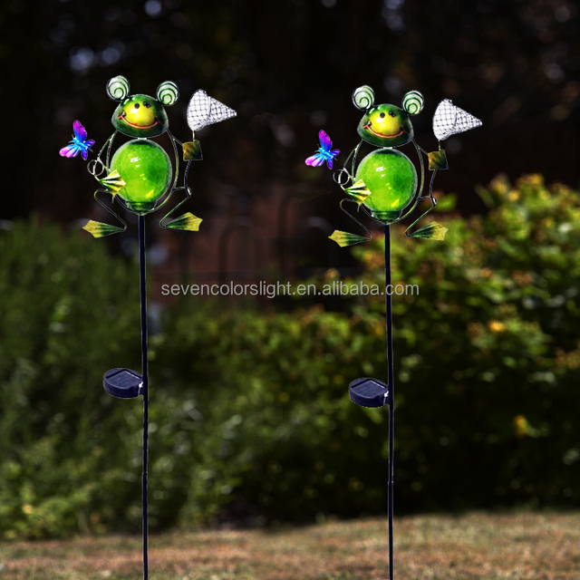 SCL0239animal frog shaped ornaments craft lawn garden New design iron with butterfly solar stake light