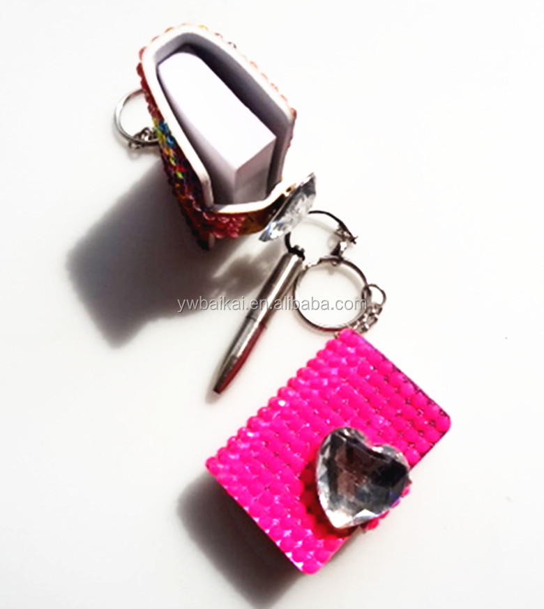 Promotional mini notebook with a key chain