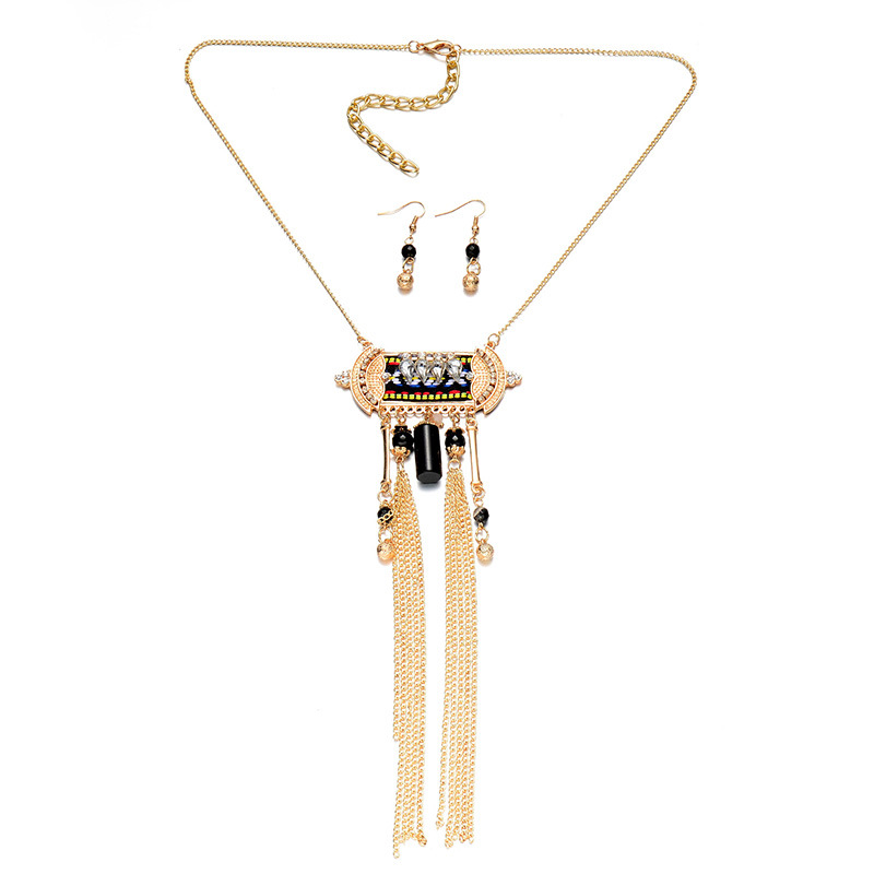 YiWu factory wholesale new Design tassel necklace handmade chain jewelry necklace set