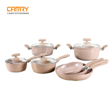 Forged aluminum korea marble cookware set