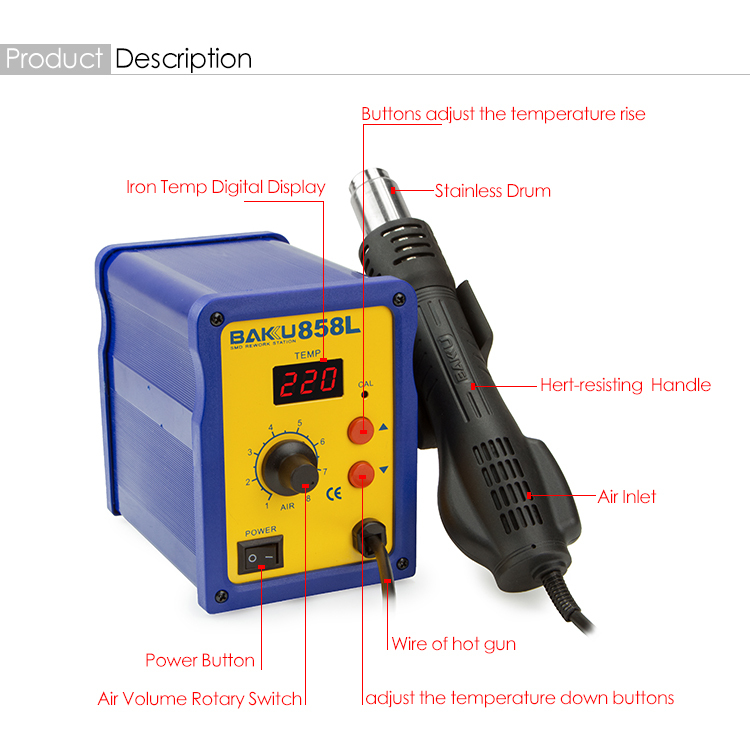 BK-858L 2 in 1LED Digital Hot Air SMD Rework Soldering Station