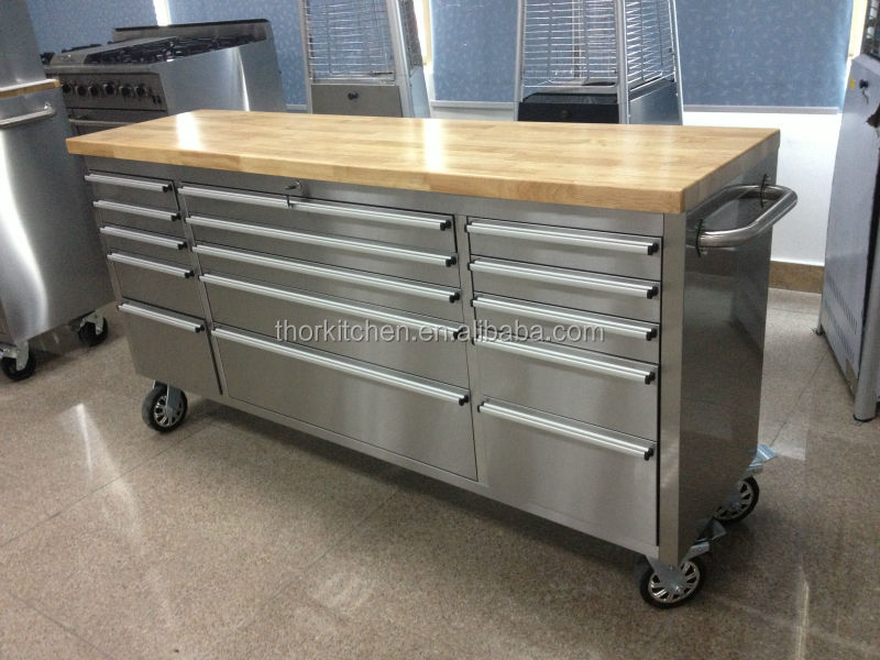 72inch heavy duty stainless steel drawer tool box cabinet on wheels