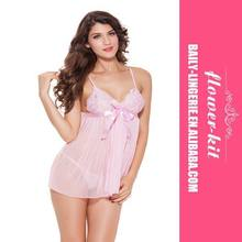 Hot Sexy Factory Price Sexy Transparent Pink Babydoll Sexy Womens Babydoll