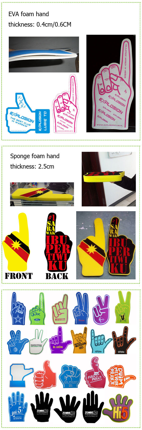 Giant cheering thumb up PU sponge hand