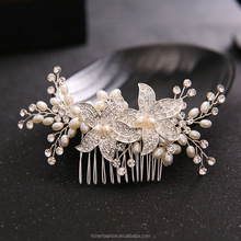 Handmade Wedding Bridal Bride Hair Accessories Flower Crystal Pearls Hair Comb