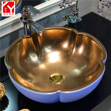 India style fashionable flower shape metal color bathroom wash basin