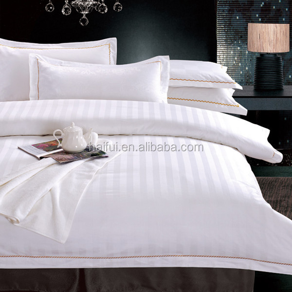 300T luxury high quality 3cm satin strip hotel bedding sheet, hotel bed linen, hotel bed sheet
