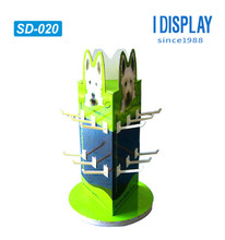 eco-friendly 3 sided cardboard rotating counter display with plastic hooks