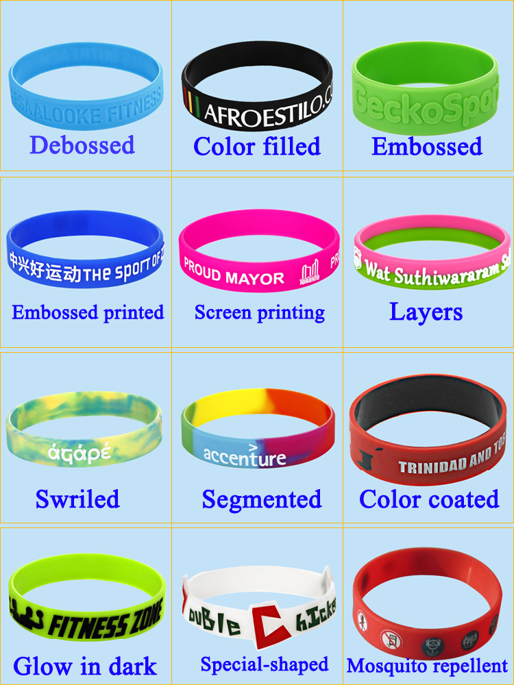 2018 New Custom Ink-filled Silicone Bracelets