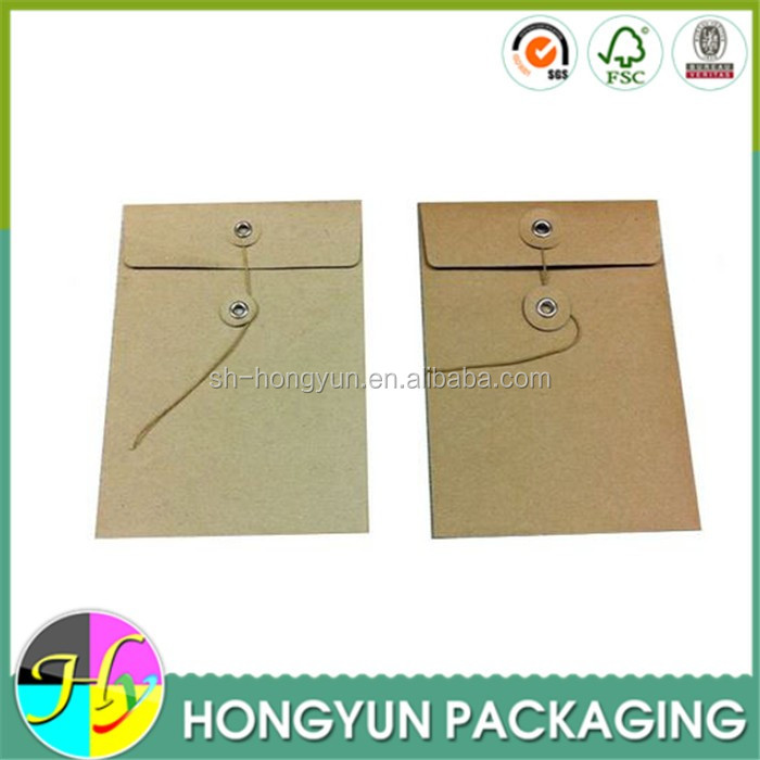 custom printed cheap kraft paper envelope with string