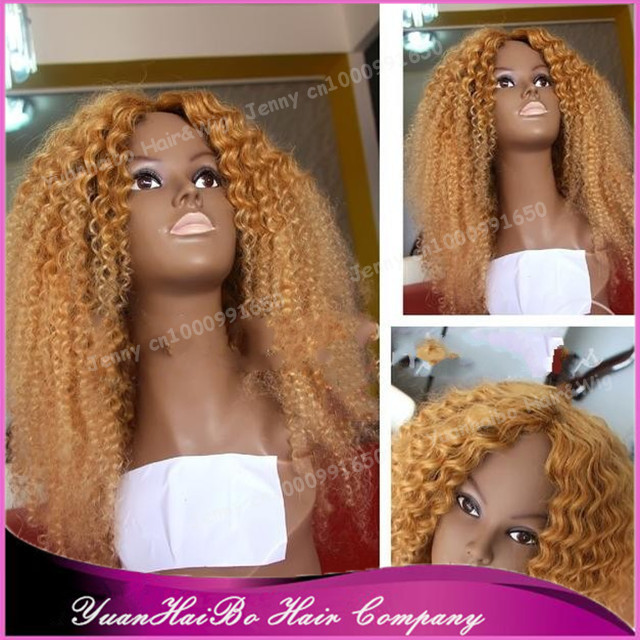 7A Top Quality! #27 honey blonde virgin peruvian hair kinky curly full lace wigs